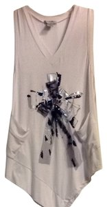 Alberto Makali Top White With Black & Silver