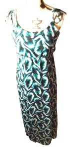 Emerald, Black, White Maxi Dress by Romeo & Juliet Couture Ma Maxi Sheer Empire Waist Chic