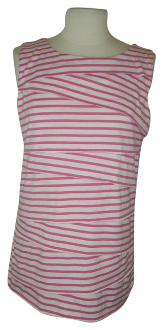 Item - Pink & White XL By Tiered Striped Sleeveless Stretch Blouse Size 18 (XL, Plus 0x)