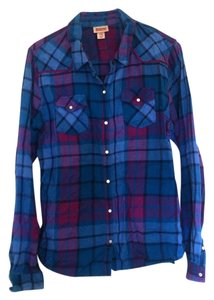 Mossimo Supply Co. Flannel Button Down Shirt Plaid