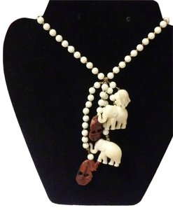 Miriam Haskell Vintage 1960s Miriam Haskell 5 Elephant Charm Faux Ivory Necklace