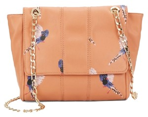deux lux Whimsical Faux Leather Adjustable Strap Messenger Bird Peach Messenger Bag