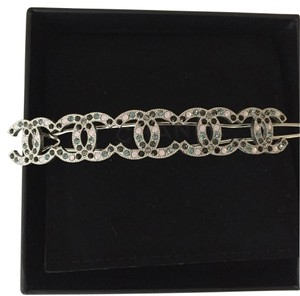 Chanel Cc Logo Silver Tone Crystal Barrette Ponytail Holder Hair Pin Classic