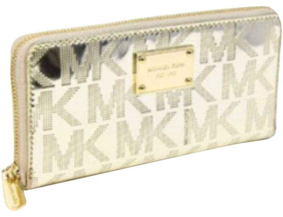 22395ddc852c Michael Kors Gold Mk Embossed Patent Leather Wallet - Tradesy