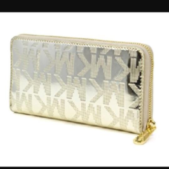 Michael Kors MK embossed patent leather wallet