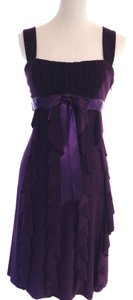 Linda Bernell Like New Empire Waist Cocktail Sleeveless Evening Betsy & Adam Womens Juniors Occasion Purple Ruffle Satin Ribbon Dress