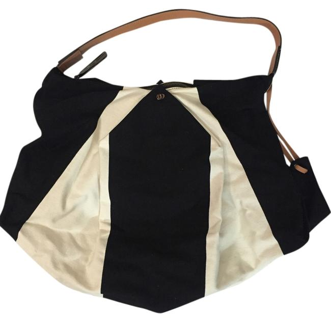 Item - Laragh Wide Striped Black and White Canvas Hobo Bag
