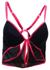 Necessary Objects Black and Fuchsia Cut Out Mesh Bustier Bra 36B