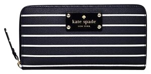 Kate Spade Kate Spade Navy Striped Leather Continental Zip Wallet New With Tags