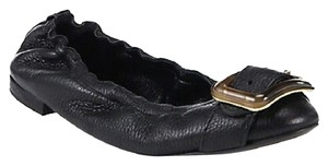 Burberry Women Engraved Plaque Elastic Black Flats