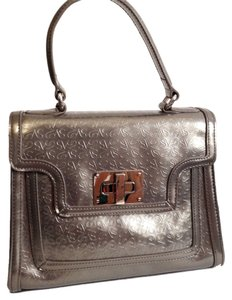 Vera Wang Patent Formal Structured Front Flap Party Signature Evening Hardware Satchel in Silver