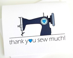 White Thank You Sew Much Card