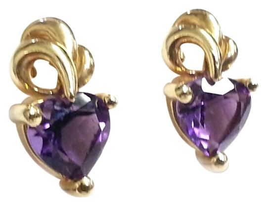 Preload https://img-static.tradesy.com/item/10337002/heart-shaped-amethyst-in-10-karat-yellow-gold-earrings-0-1-540-540.jpg