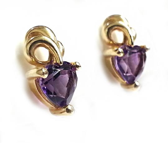 Other Heart Shaped Amethyst Earrings in 10 Karat Yellow Gold