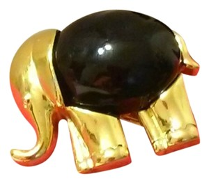 Kenneth Jay Lane KJL Vintage Gold Tone Black Onyx Elephant PENDANT BROOCH