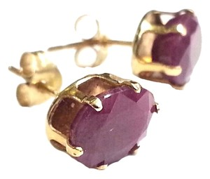 Genuine Red Ruby Earrings in 14 Karat Yellow Gold