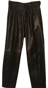 Wilsons Leather Soft Leather Bootcut Motorcycle Straight Pants Black