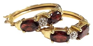 Red Garnets & Diamonds Earrings in 10 Karat Yellow Gold