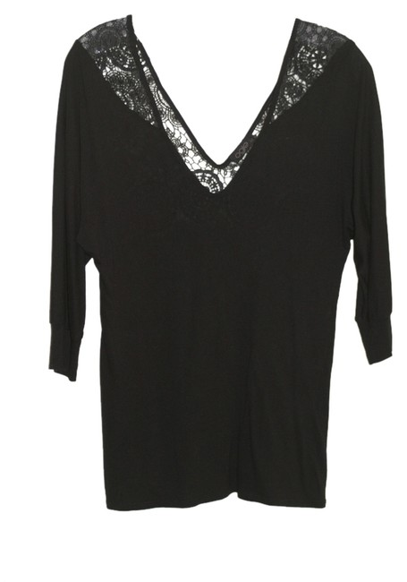 OGLE Vneck Lace Olge Xs Top Black