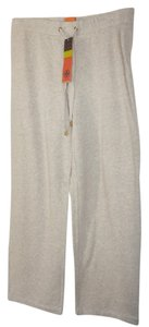 Tory Burch Wide Leg Track Workout Track Athletic Pants Beige