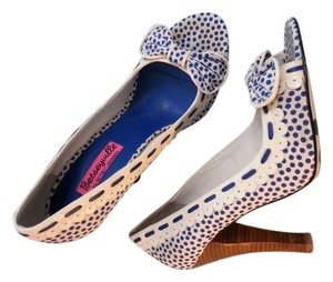 Betsey Johnson Blue & White Polka Dot Pumps