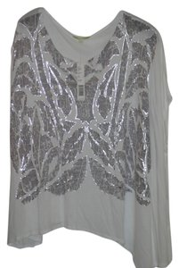 Gianni Bini Full Small Top White silver foil