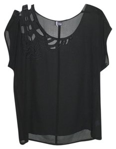 Sparkle & Fade Sheer Top Black
