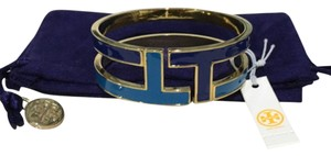 Tory Burch Tory Burch Tripp Enamel Bangle Blue Gold Adjustable Bracelet