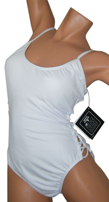 Item - White Swimsuit Control Corset Like Lacing At By One-piece Bathing Suit Size 12 (L)