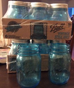 Mason Light Blue Pint Size Jars Centerpiece