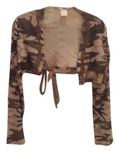 Casting Camo Cropped Embroidered Tie-front Camouflage Jacket