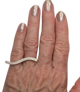 Other Double Ring, Sterling Silver plated in yellow gold with three rows of pave crystals