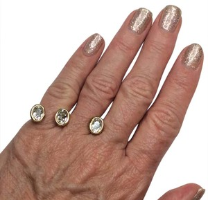 Other Double Ring, yellow gold plated with three large crystals.