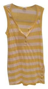 Splendid Stripes Stripped Buttons Summer Top Yellow and White