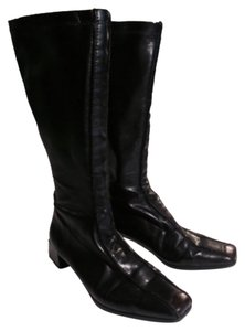 Rieker Comfortable Stretchy Black, Brown Accent on Toe Boots