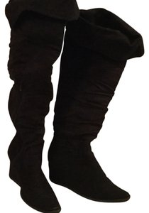 Over The Knee Micro-suede Black Boots