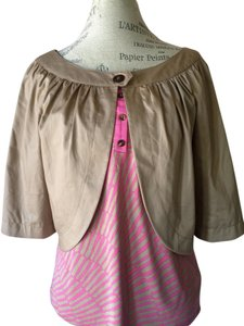Trina Turk Layering Pleated Khaki Jacket