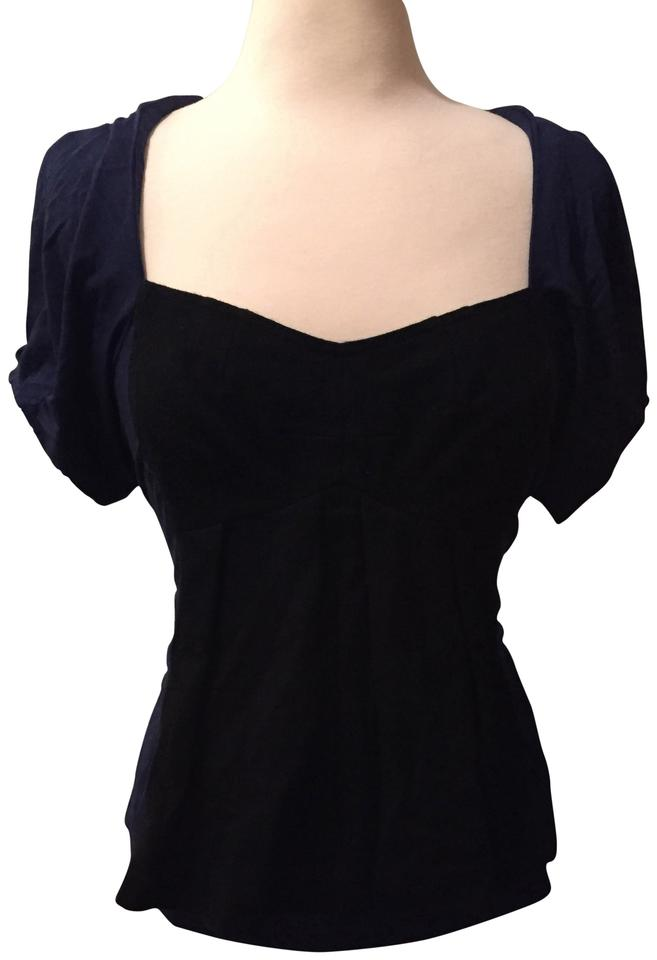 7b67a1d287092 Marc by Marc Jacobs Blue and Black Corset Tee Shirt Size 14 (L ...