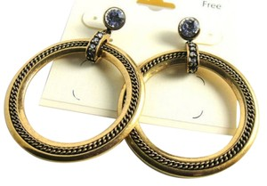 New Antiqued Gold Hoop Earrings Crystals 3 in. Big Large Jewelry J1785