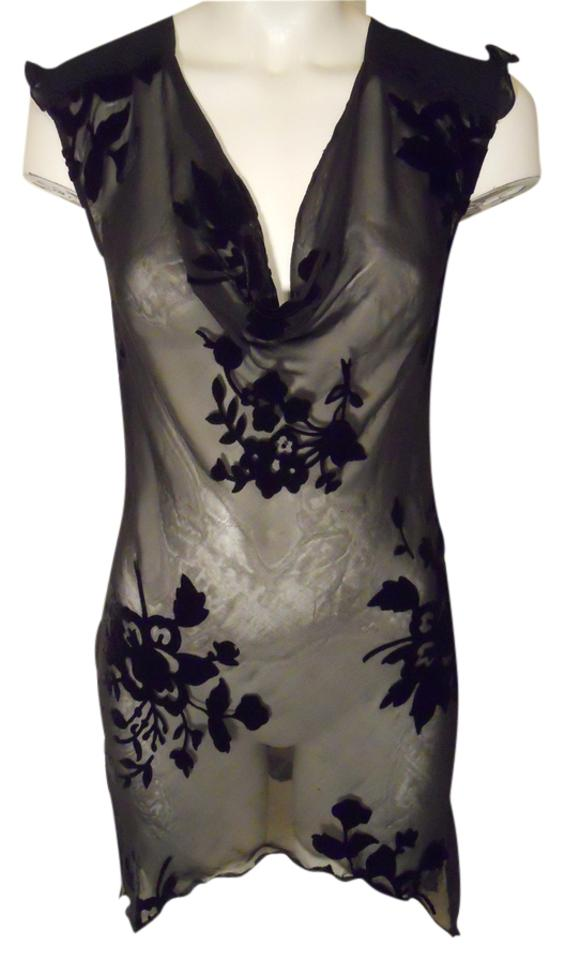 7f4fce8c804 Express Sheer Velvet Burn Tunic Black Top - Tradesy