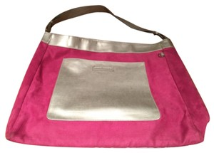Sondra Roberts Silver Metallic Colors Suede Soft Handbag Tote in Pink