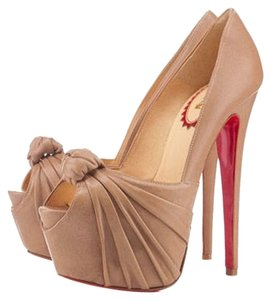 Christian Louboutin Nude Tan Leather Lady Gres Lady Gres 38 8 New Platform Hidden Platform Stiletto Peep Toe Daffodile Lady Peep 160 Beige Pumps