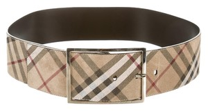 Burberry Beige, black multicolor leather Burberry Explosive check print wide belt