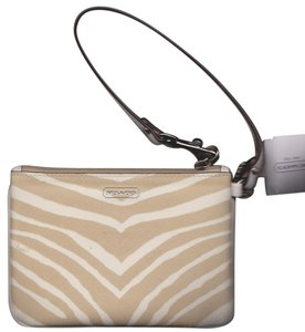 Coach Coach Cream and Khaki Zebra Universal Zippered Phone Wristlet