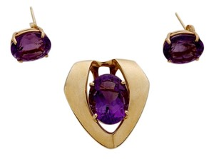 BARMAKIAN HUGE AUTHENTIC 14K YELLOW GOLD AND AMETHYST STONE PENDANT & EARRINGS