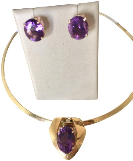 Preload https://img-static.tradesy.com/item/10350115/14k-yellow-gold-and-amethyst-custom-made-huge-center-stone-in-pendant-w-huge-earrings-0-4-540-540.jpg