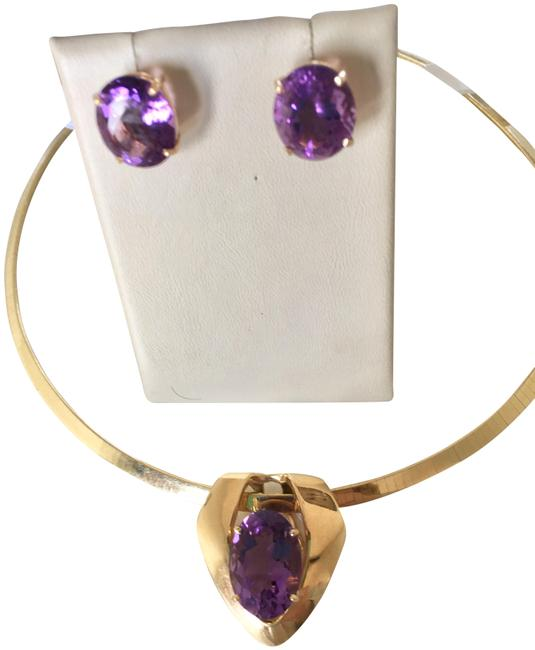 Item - 14k Yellow Gold and Amethyst W Custom Made Pendant & Earrings W/ Huge Stones Necklace