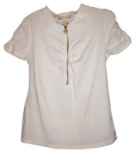 MICHAEL Michael Kors Polo Shirt Mk Tee Shirt Tennis Shirt Top White, gold