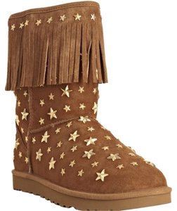 Jimmy Choo Studded Shearling Chestnut Brown Boots