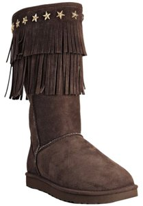 Jimmy Choo Fringe Hem Studded Shearing Chocolate Boots